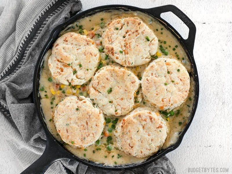 Finished baked Vegetable Pot Pie Skillet with Cheddar Biscuit Topping