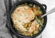 Vegetable Pot Pie Skillet with Cheddar Biscuit Topping