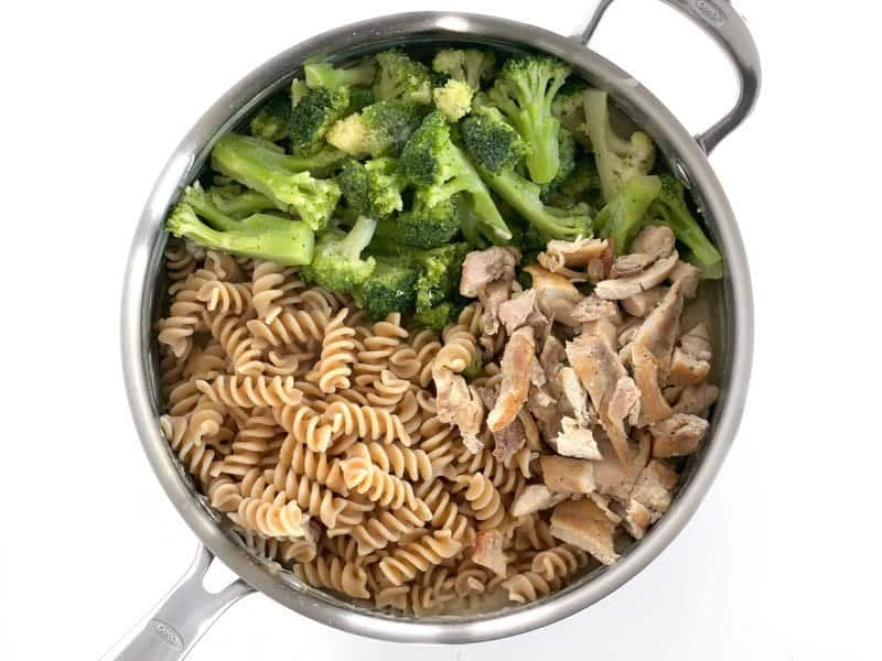 Add Pasta Broccoli and Chicken to skillet with the cream sauce