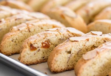 Fresh homemade Almond Apricot Biscotti are pennies a piece and can be stored in the freezer, ready for dunking at any time. BudgetBytes.com
