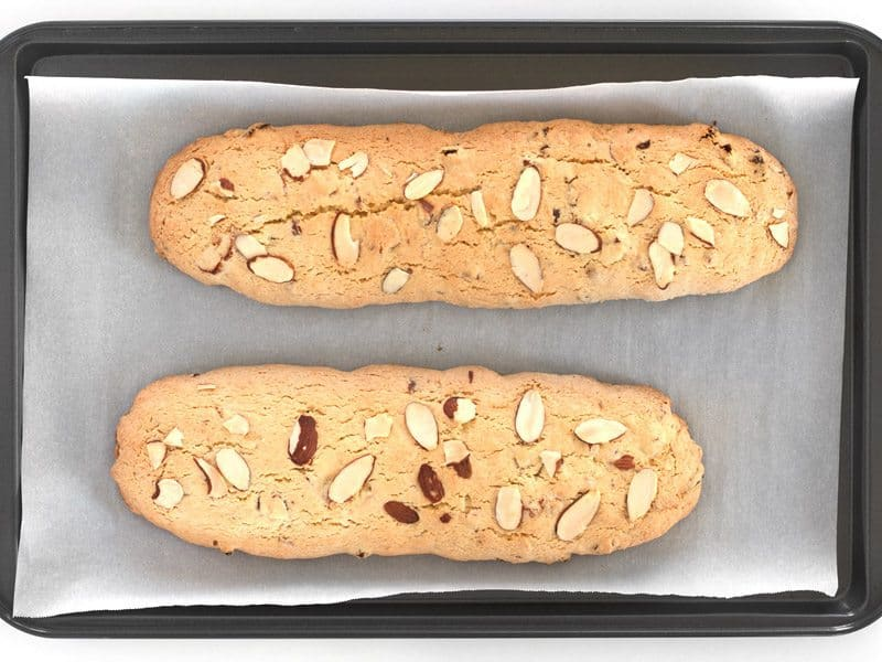 Baked Biscotti Logs on the parchment lined baking sheet
