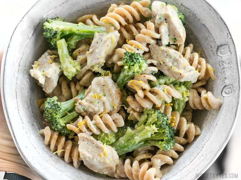 Close up of a bowl of Chicken and Broccoli Pasta with Lemon Cream Sauce