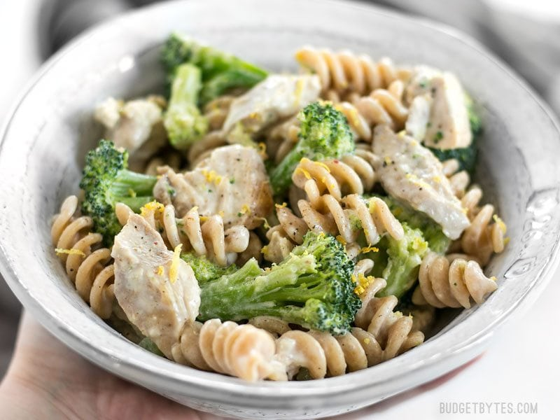 Front close up of a bowl of Chicken and Broccoli Pasta with Lemon Cream Sauce