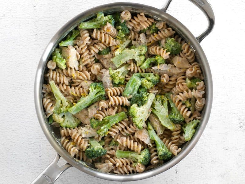 Chicken and Broccoli Pasta stirred together with Lemon Cream Sauce in the skillet