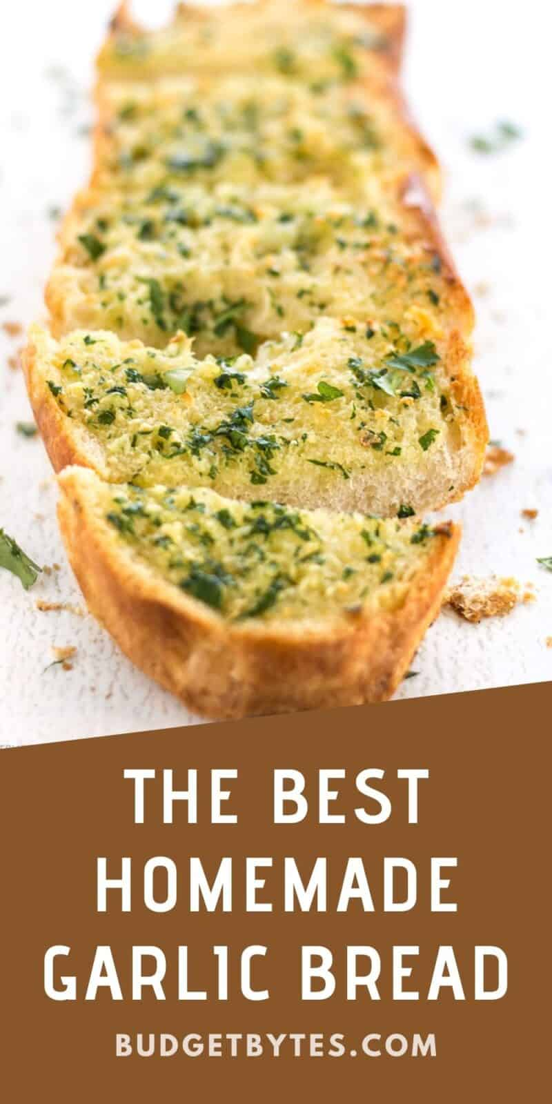 Close up front view of sliced garlic bread
