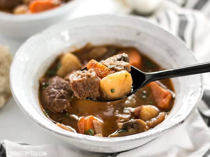 This Instant Pot Beef Stew is incredibly fast and easy, but is packed with slow-cooked flavor. BudgetBytes.com
