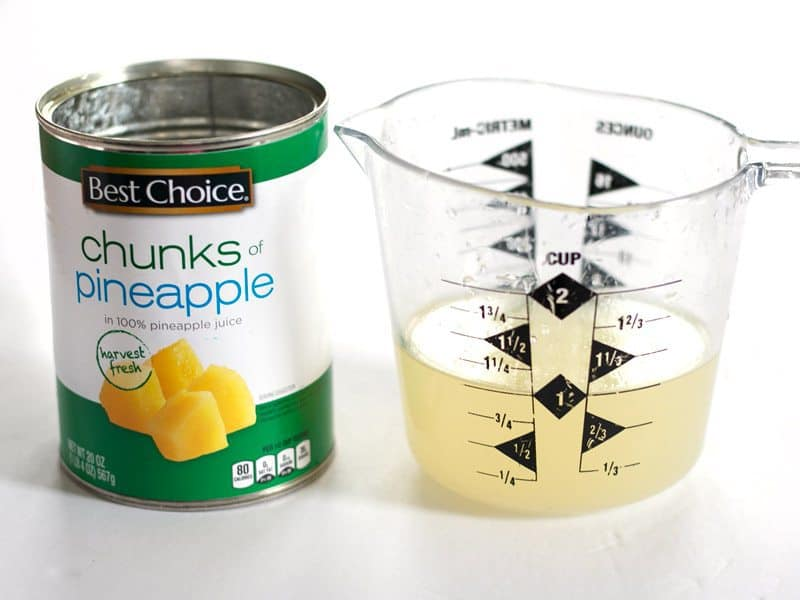Pineapple Juice from the can, 1 cup measured in a measuring cup