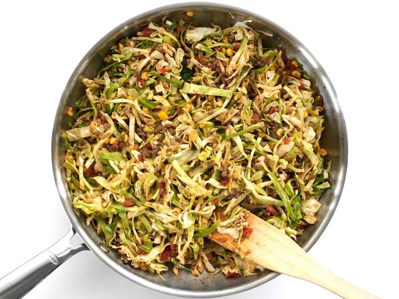 Add Shredded Cabbage to the skillet