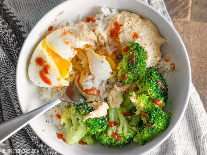 Hummus Breakfast Bowls are a medley of colors, flavors, and textures, and a great way to work vegetables into the most important meal of the day. BudgetBytes.com