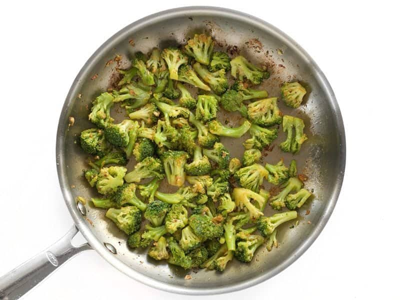 Broccoli and Garlic cooked in skillet
