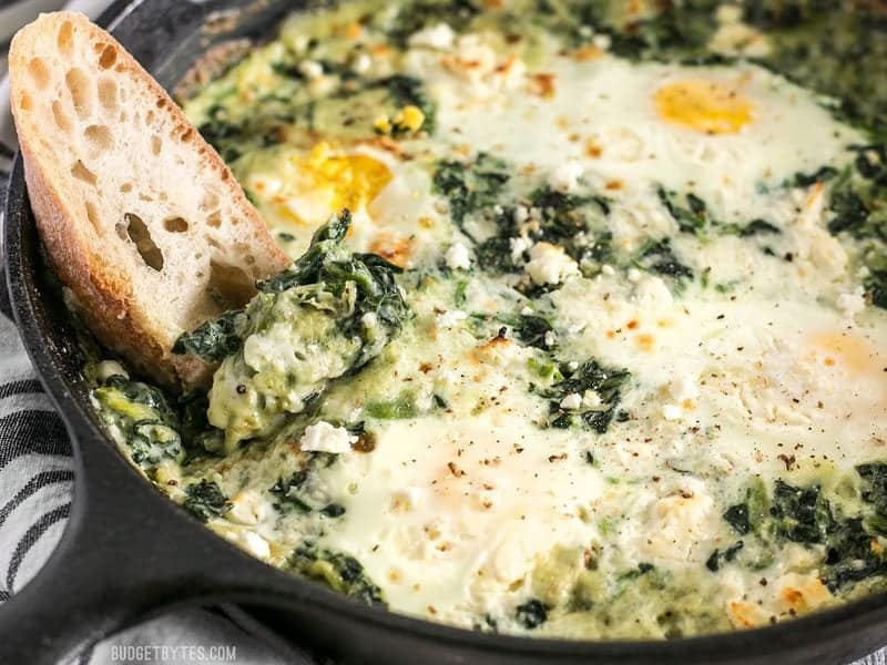 Creamed Spinach Baked Eggs - Budget Bytes