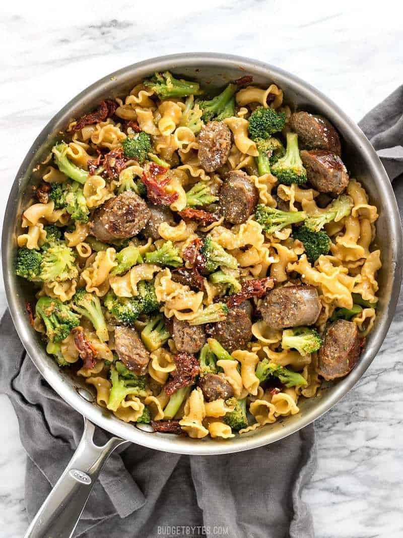 Finished One Pot Sausage and Sun Dried Tomato Pasta in the skillet