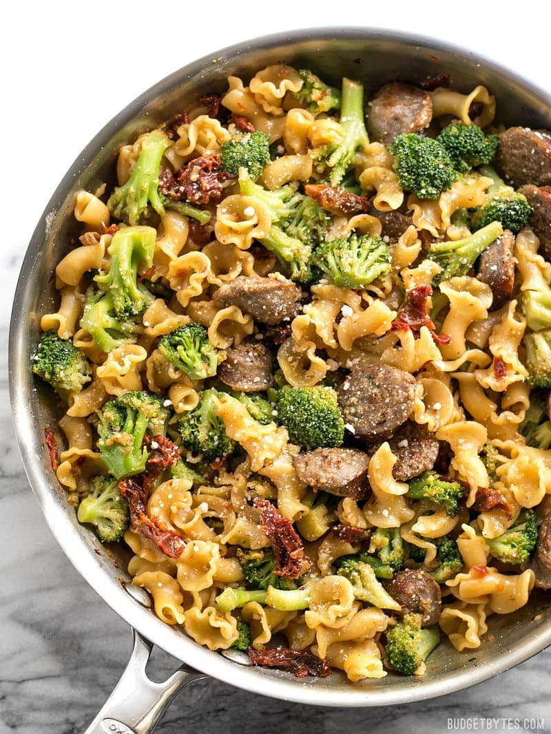 Close up of One Pot Sausage and Sun Dried Tomato Pasta in the skillet