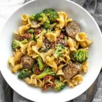This One Pot Sausage and Sun Dried Tomato Pasta cooks quickly and in one skillet so that no flavor is lost! Make dinner fast, easy, and delicious. BudgetBytes.com