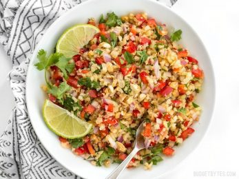 Riced cauliflower makes a filling low-carb base for this fresh and vibrant Thai-inspired Peanut Lime Cauliflower Salad. BudgetBytes.com