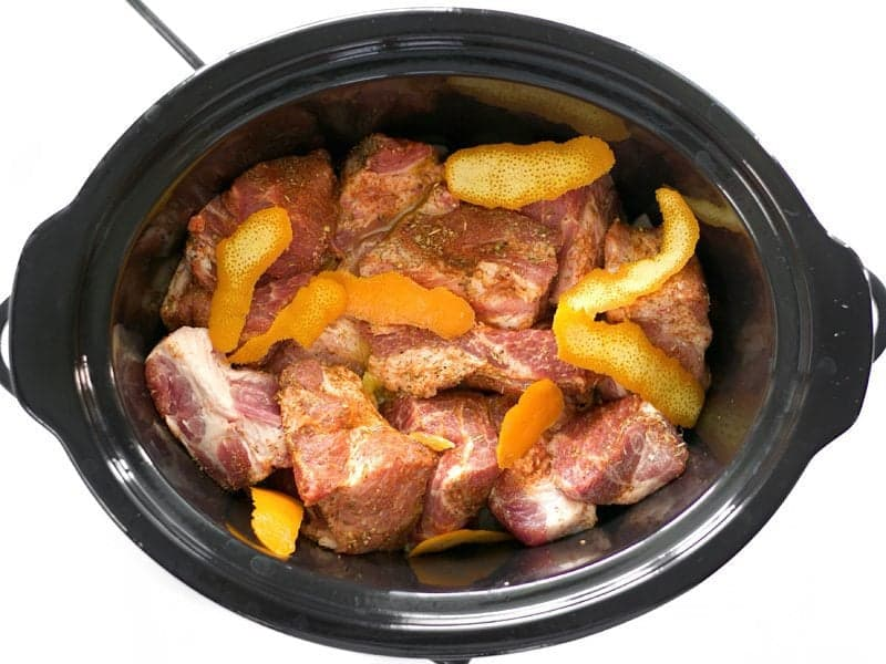 Pork and Orange Peel in the slow cooker ready to cook