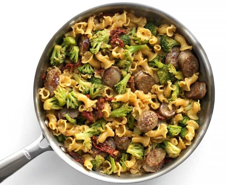 Stir sausage and broccoli back into skillet