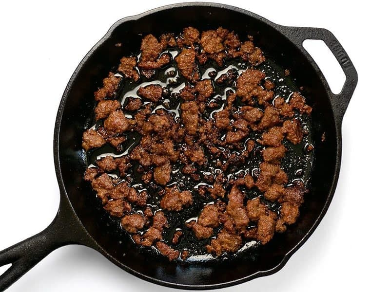 Browned Chorizo in a cast iron skillet