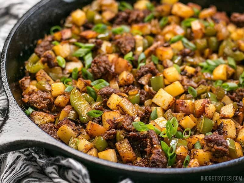 "This simple but tasty Chorizo Breakfast Hash is a breakfast classic. Perfect for your lazy weekend brunch, or even ""breakfast for dinner"". BudgetBytes.com"