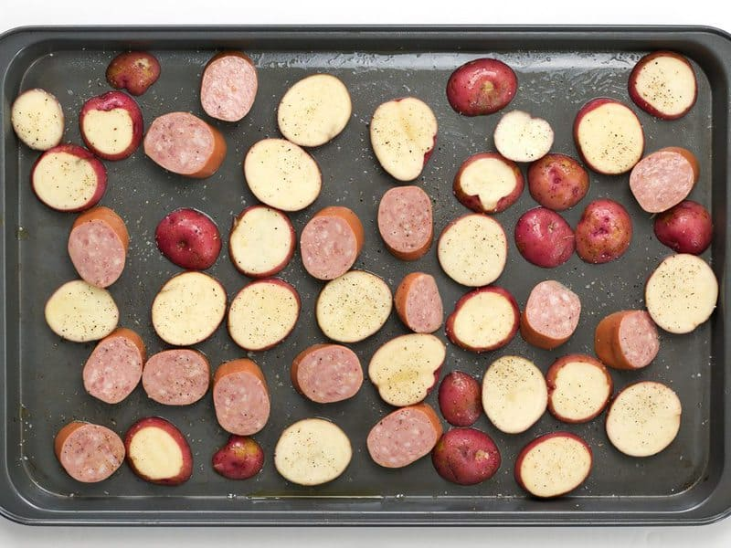 Sliced Potatoes and Kielbasa