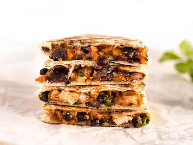 These Ultimate BBQ Chicken Quesadillas are packed with colorful ingredients and deliciously tangy BBQ sauce! #ad BudgetBytes.com