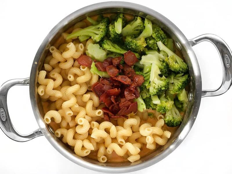 Return Pasta Broccoli and Bacon to the pot