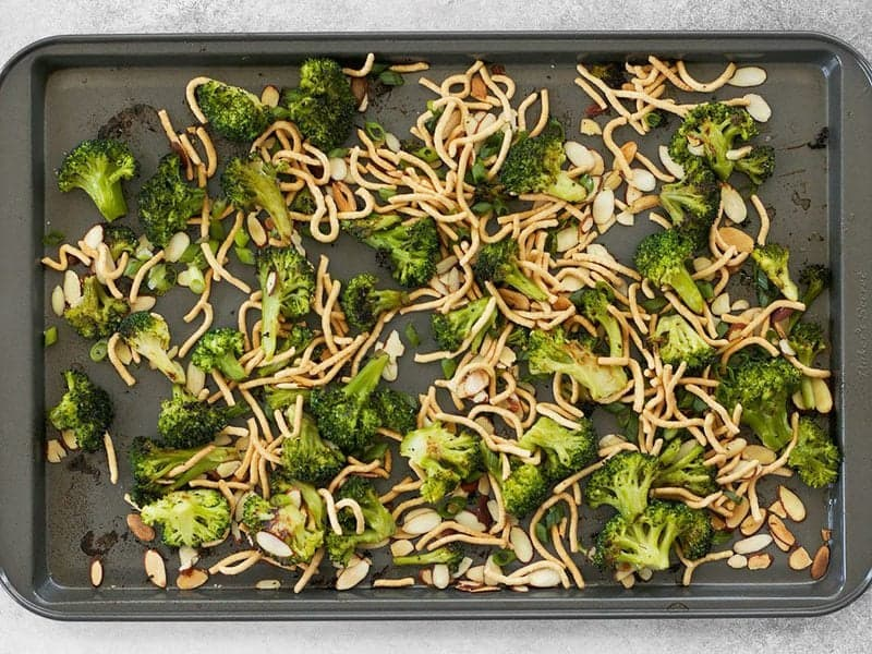 Add Chow Mein Noodles to roasted broccoli and almonds