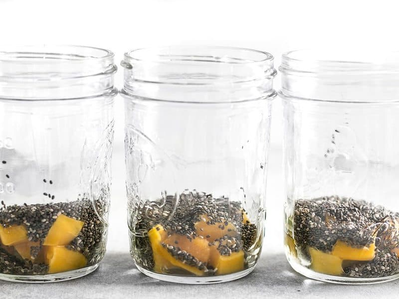 Mango Cubes and Chia Seeds in mason jars