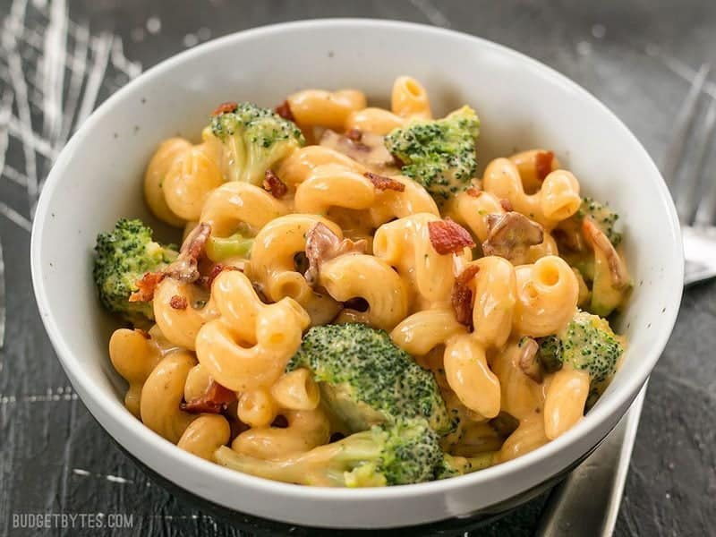 Front view of a bowl of One Pot Bacon Broccoli Mac and Cheese