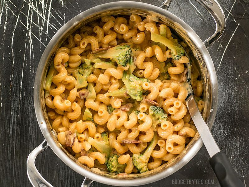 Overhead shot of a pot full of One Pot Bacon Broccoli Mac and Cheese