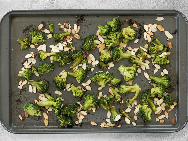 Roasted Broccoli Florets and Almonds