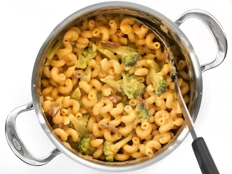 Stir to Combine Bacon Broccoli Mac and Cheese