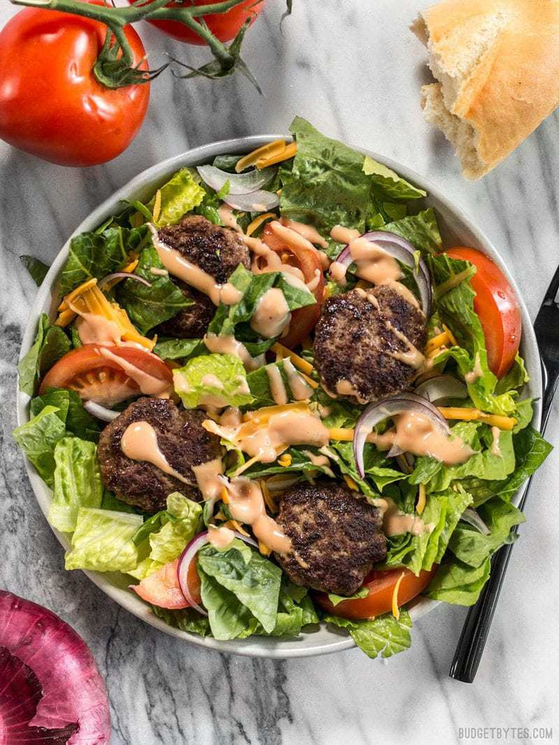 When you're got to have your burger, but you're trying to do better, make a Cheeseburger Salad! BudgetBytes.com