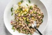 Coconut Jerk Peas with Pineapple Salsa