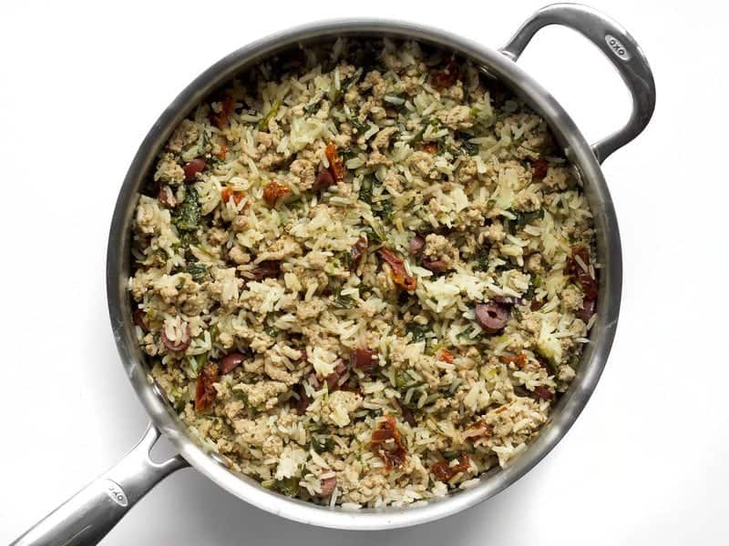 Cooked Greek Turkey and Rice Skillet