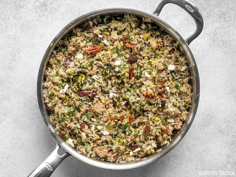 Greek Turkey and Rice Skillet finished with feta on top