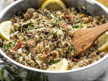 Everything cooks together in one pot for this fast and easy Greek Turkey and Rice Skillet, creating big flavor without a lot of fuss. BudgetBytes.com