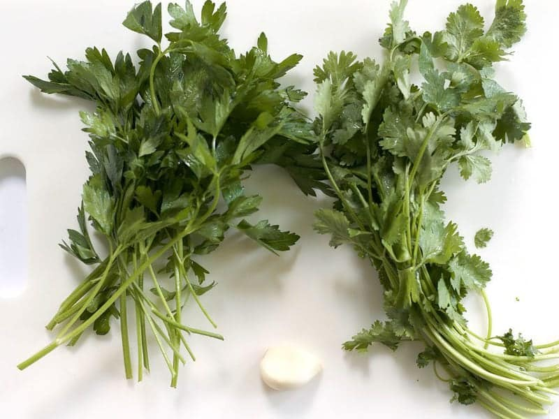 Fresh Parsley Cilantro and Garlic
