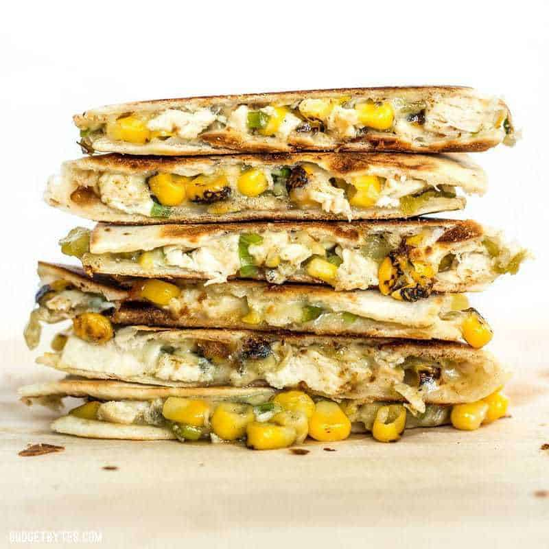 A stack of Roasted Corn Quesadillas viewed from the side