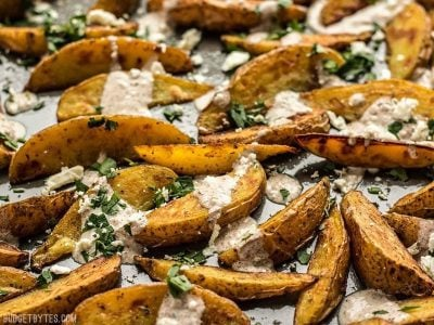 Roasted Potato Wedges with Shawarma Sauce