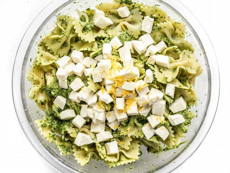 Add Lemon Zest and Mozzarella to Kale Pesto Pasta