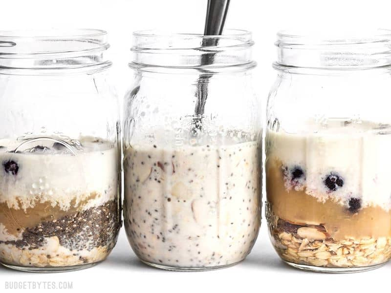 Add Milk and Stir Blueberry Almond Overnight Oats