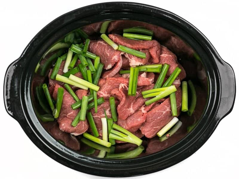 Beef and Green Onion in slow cooker