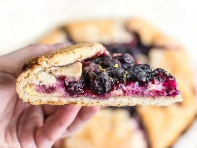 This Lemon Blueberry Cream Cheese Galette is a simple and rustic dessert that can be made with frozen or fresh berries. BudgetBytes.com