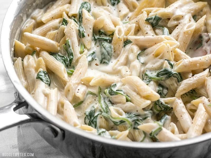 "Close up view of the super creamy sauce for the ""lighter"" Spinach Alfredo Pasta"
