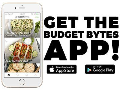 "A white iphone with the Budget Bytes App displayed on the screen and ""Get the App!"" text on the right."