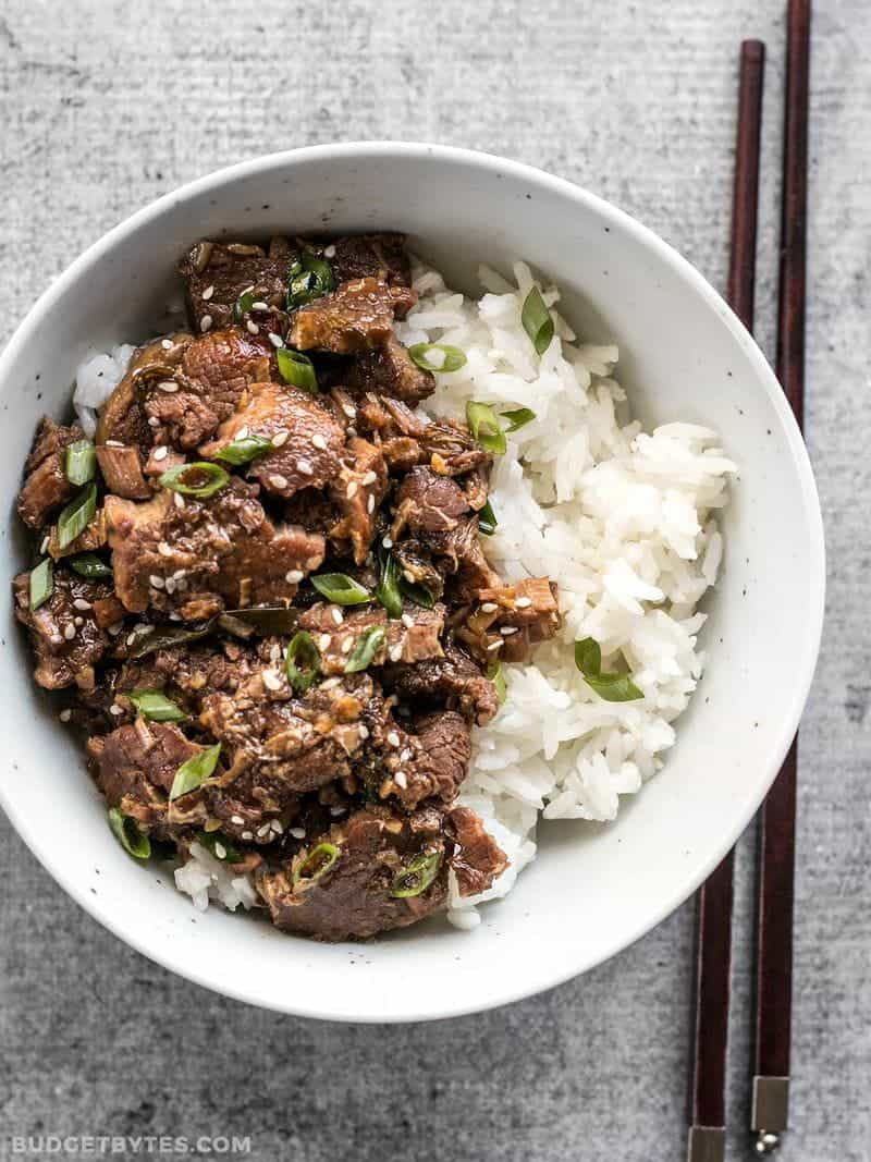 This tender, rich, and flavorful Slow Cooker Sesame Beef is extremely versatile and only requires a few ingredients that can be found at most grocery stores. BudgetBytes.com