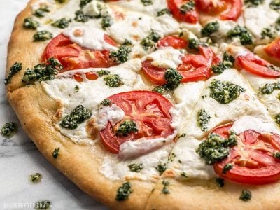 White Pizza with Parsley Pesto Drizzle