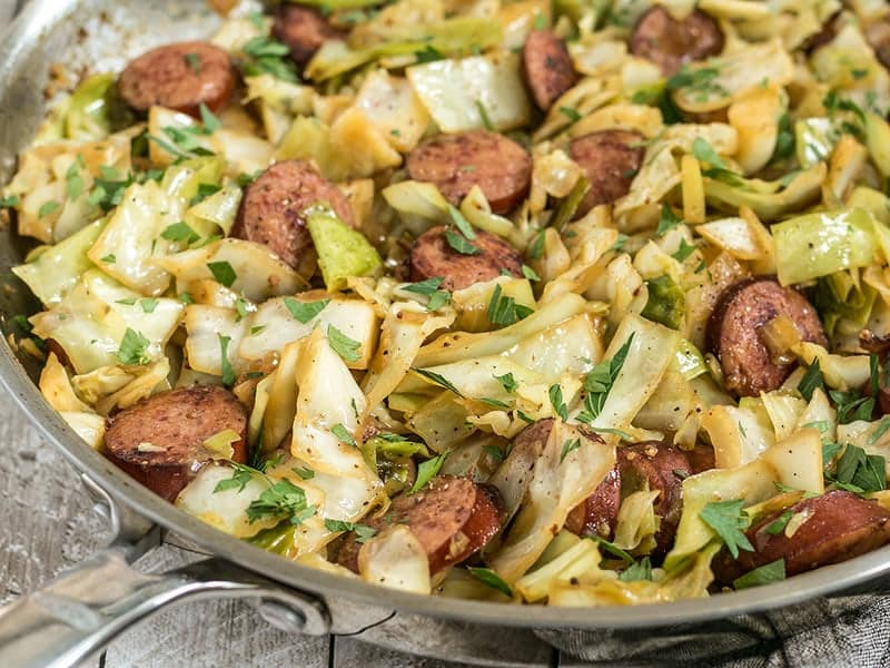A close up side view of Kielbasa and Cabbage Skillet in the pan.
