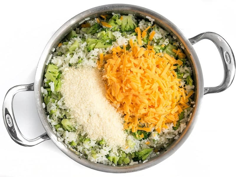 Add Cheese to Easy Cheesy Broccoli Rice